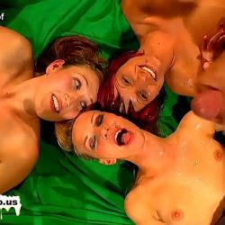 Four lovely sluts are used as cum buckets from a group of horny guys