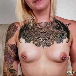 Nervous tattoed girl Ami fucks on first casting – preview